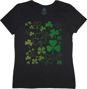 Ladies t-shirt shamrocks design st patricks day women's size tee shirt