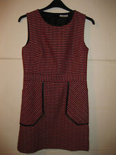 TU red black and white textured stripe short sleeved winter dress size 12