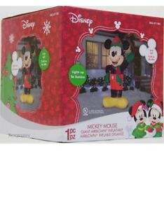 Christmas Disney 8 ft Light Mickey Mouse with Hat & Scarf Airblown Inflatable. N