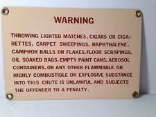 Vintage 1970's Porcelain on Metal Trash Compactor Chute Warning Sign