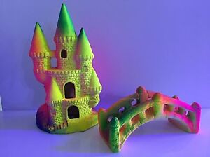 Classic Flourescent Castle + Bridge - Aquarium Ornaments - Decoration