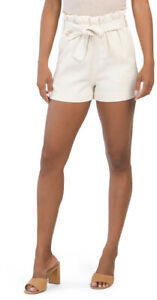 Junior's TINSELTOWN White Cotton Blend  Paperbag-Waist Belted Shorts NWT XS