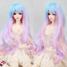 BJD SD Doll Wig Blue Ombre Pink Purple 8~9'' 1/3 DZ DOD LUTS Curly Wavy Hair Wig