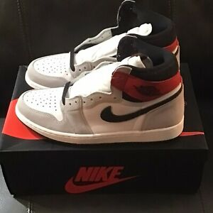 "Nike Air Jordan 1 Retro High OG ""Light Smoke Grey"" 555088-126, Men's Size 10"