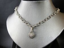 Judith Ripka Sterling Silver 925 Country Link Chain Necklace With Heart Charm