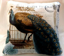 Peacock Pillow Decor 16 x 16 Square Large Throw Blue Brown White Home Sofa Couch