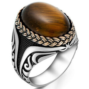 Solid 925 Sterling Silver Wicker Design Oval Cabochon Tiger's Eye Stone Men Ring