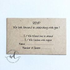 10 x KRAFT RSVP / Response Cards - Printed And Cut - Wedding Invitations - DIY