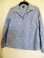 BASIC EDITIONS button down Chambry Blue Floral Top Shirt Sz L