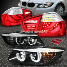 BLACK 3D HALO PROJECTOR HEADLIGHT+RED CLEAR LED TAIL LAMP FOR 06-08 3-SERIES