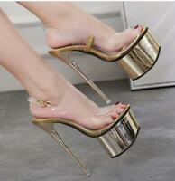 Womens Super High Heels Platform Ankle Strap Nightclub Clear Sandals Party Shoes