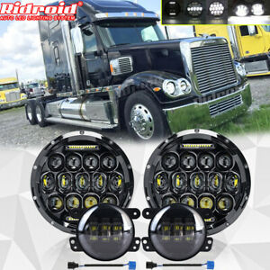 for Freightliner Coronado 7'' LED Headlight Round Projector Hi/Lo+ 4'' Fog Light