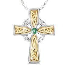 Emerald Cross Pendant Necklace #zh Fashion Irish Blessing Women's Celtic