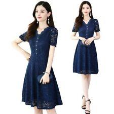 Womens A-Line Korean Fashion Lace Dress V-Neck Buttons M-5XL Slim Fit Mid Long D