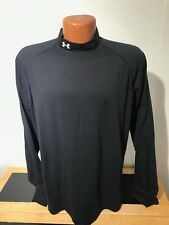Mens Under Armour L/S Mock Athletic T-Shirt Size Medium (M) Black - Polyester