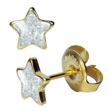 1 Paar Chirurgenstahl Ohrstecker vergoldet Stern transparent Studex Sensitive
