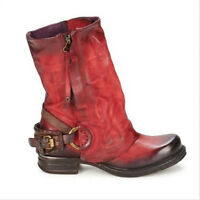 Motorcycle Ankle Boots Womens Flat Gothic Combat Punk Buckles Military Shoes NEW