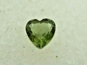 .116 carat Moldavite Faceted Heart Czech Republic Meteorite impact about 3x3x2mm