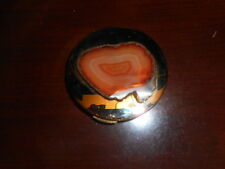 Polished Metal Compact Purse Mirror w/Dual View, Topped with Stone Cross section