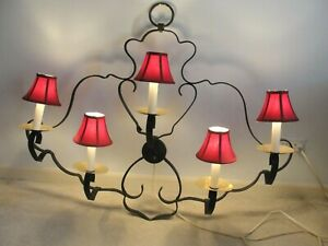"""WROUGHT IRON ART SCULPTURE HANGING WALL MAROON SCONCE SHADES 5 LIGHT 44""""x36"""" VTG"""