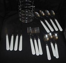 GIBSON FLATWARE WHITE HANDLE 14 PIECES PLUS STAINLESS CADDY EC