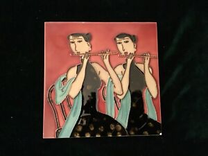 Rare COLLECTABLE Chinese Tile Art Twin Flutist