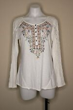 Sundance Boho Floral Embroidered Lace Long Sleeve Henley Top Size S White