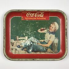 Vintage 1940 Coca-Cola Advertising Serving Tray Sailor Girl Fishing Pin-up Sign