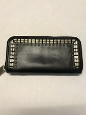 MNG TOUCH Black Accessories Collection Round Studded Long Zipper Purse Wallet