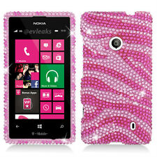 For T-Mobile Nokia Lumia 521 Crystal Diamond BLING Case Phone Cover Pink Zebra