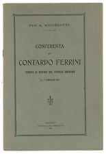 MICHELOTTI CONFERENZA SU CONTARDO FERRINI GIOVANI CIRCOLO OMONIMO MONDOVI' 1914