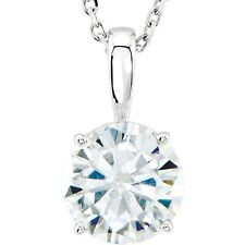 1 Ct Forever Brilliant Moissanite Solitaire Round Pendant Necklace 14k White