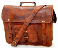 New Men's Large Real Leather Brown Tote Bag Shoulder Bag Messenger Briefcase