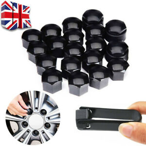20x Universal Car Wheel Bolt Nut Caps Covers Locking for Any Car Black 17mm UK