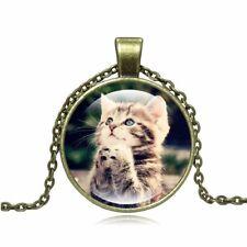 Fashion Cute Cat Pendant Necklace Art Glass Cabochon Picture Cat