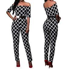NEW WOMENS SEXY BLACK/WHITE GRAPHIC PRINT LONG PANTS JUMPSUIT ROMPER--L 64179-2