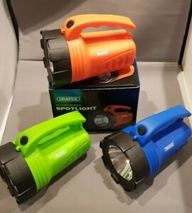DRAPER 3W LED RECHARGEABLE SPOTLIGHT. CAMPING,WORKSHOP, 3 COLOURS