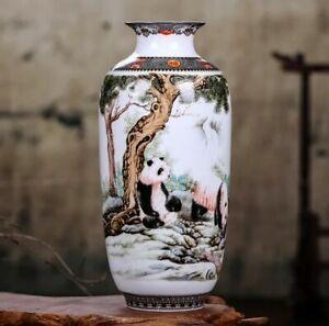 Jingdezhen Ceramic Vase Flower Chinese Panda Porcelain Antique Reproduction