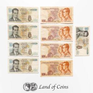 BELGIUM: Set of 9 Belgian Franc Banknotes.