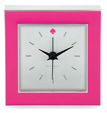 "Kate Spade Cross Pointe Clock PINK Enamel Silver Plated Square 3.5"" New"