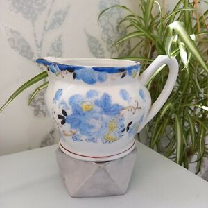 Vintage Hand Painted Blue White Floral Creamer Jug Art Deco Asian Made In Japan