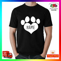 Custom Dog Name T-Shirt Shirt Printed Tee I Love Heart Paw Pet Pup Your Own Dogs