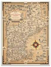"MAP of USA's New England States MA, NH, VT, ME CT, RI circa 1939 - 24"" x 32"""
