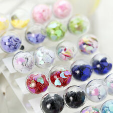 Candy 10 Color Double Sided Heart Inside Glass Ball Ear Plug Stud Earrings Gift