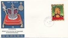 (86065) Barbuda Philart FDC Kings & Queens Stephen - 1 April 1970