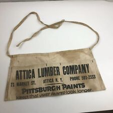 Attica Lumber WNY VTG Tool Belt Apron Nail Pouch Canvas Advertisement 14011