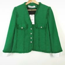 ZARA NEW GREEN RHINESTONE JEWEL BUTTON TWEED BLAZER JACKET BNWT Size Medium