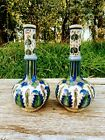 Antique Pottery Vases Qajar Persian Leaves Butterfly Bug