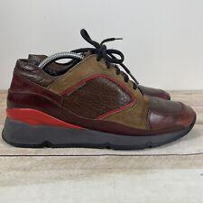 Miu Miu Prada Men's Sneakers Casual Leather Suede Shoes 37.5 7.5 Brown Tan Red