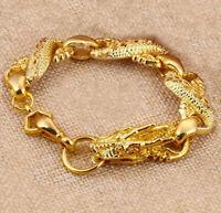 "18k Yellow Gold Mens Dragon Link Chain Bracelet 7"" 71/2"" 8"" 9"" 10"" Size D215"
